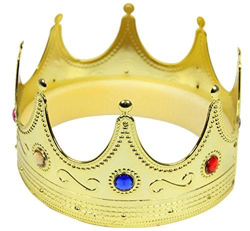 Foxxeo goldene Königskrone für Kinder und Erwachsene - Karneval König Krone Crown Herren Jungen Fasching Prinz