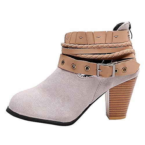 Geili Damen Chelsea Boots Pumps Kurzschaft Wildleder Stiefel mit Blockabsatz Frauen High Heels Schlüpfen Stiefeletten Gürtelschnalle Übergrößen Boots Ritterstiefel 36-42