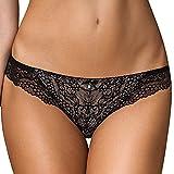 Gorteks Scarlet/F Slips Damen Unterhosen Dessous Geblümt Spitze Setteil Top Qualität EU, schwarz-beige,44