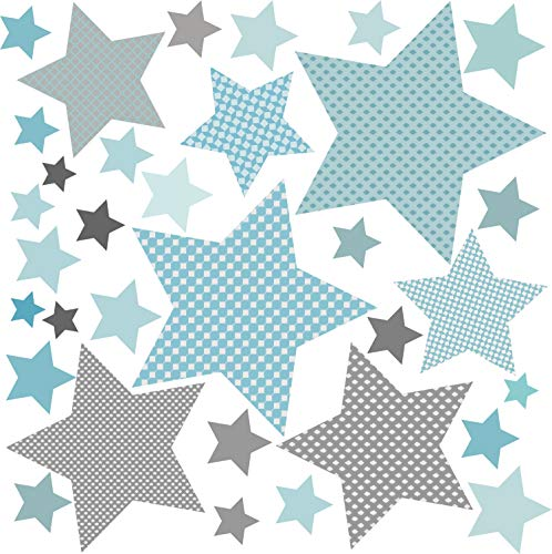 Wandaufkleber Kinder Wandtattoo Baby Sterne Wand Sterne Grau Blau (Sterne Grau Blau) greenluup Öko Wandsticker Kinderzimmer Babyzimmer Deko Wandtattoos