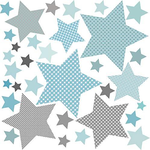 greenluup Öko Wandsticker Wandaufkleber Wandtattoo Baby Sterne Grau Blau (Sterne Grau Blau) Kinderzimmer Babyzimmer Deko Wandtattoos