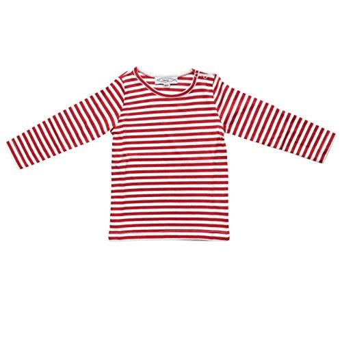 Fishermen Kinder Langarm-T-Shirt Michel Rot/Weiß Schmal Gestreift Größe 122/128