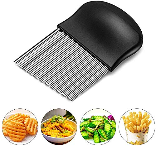 Starchef cortador de arrugas de acero inoxidable, cortador de patatas, cuchilla ondulada para verduras (negro)