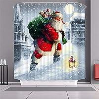 クリスマスシャワーカーテン、ポリエステル生地耐久性のある風呂カーテンの防水カビ簡単に掃除させた、クリスマスの飾りサンタバスタブのカーテン150 * 180センチメートル Santa10-150*180