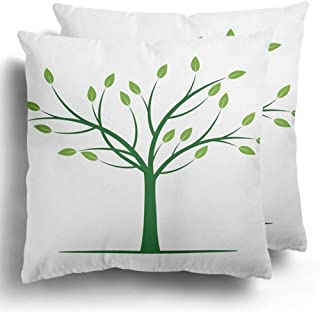 Throw Pillow Covers Pack of 2 Bark Alone Green Tree with Leafs Bare Branch Drawing Ecology Forest Polyester Cushion Case Square Cover Home Decor 20 x 20 Inches