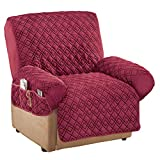 Collections Etc Diamond-Shape Quilted Stretch Recliner Cover with Storage Pockets - Furniture Protector, Burgundy, Recliner