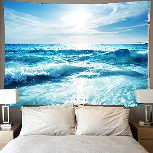 KHKJ Tapiz con Vista al mar Colgante de Pared de Playa Hermosa Puesta de Sol Fondo psicodélico Cielo Manta de Picnic Decoración del hogar Tamaño Grande A14 200x150cm