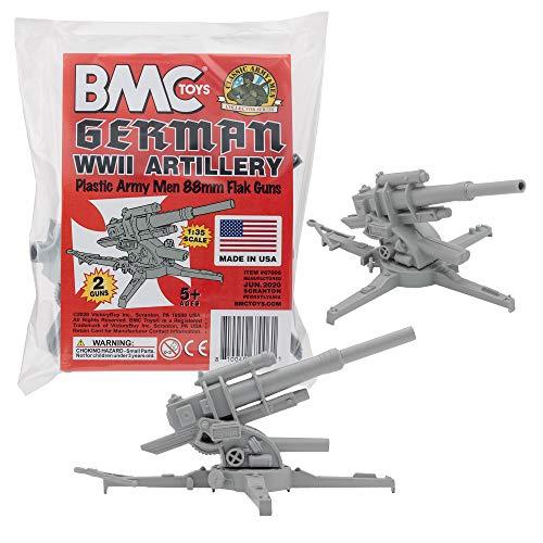 BMC Classic WW2 German 88mm Artillery - 2pc Gray Plastic Army Men Accessories
