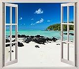 Pegatinas 3D Vinilo Ventana Varias Medidas 100x90cm | Adhesivo Incluido | Decoracion Habitación |Playa, Desierta Paradisiaca, Relajante | Multicolor | Diseño Elegante |