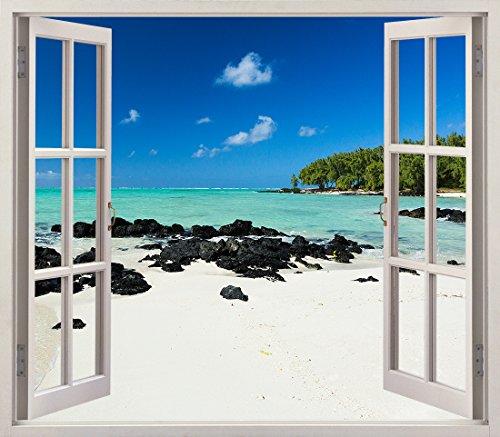 Pegatinas 3D Vinilo Ventana Varias Medidas 100x90cm   Adhesivo Incluido   Decoracion Habitación  Playa, Desierta Paradisiaca, Relajante   Multicolor   Diseño Elegante  