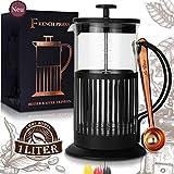 Le Flair® French Press Negro para 1 litro de café – Tetera de cristal con cuchara de café de cobre – Cafetera de émbolo con cuchara de café – Cafetera de émbolo para preparar café – Máquina de café