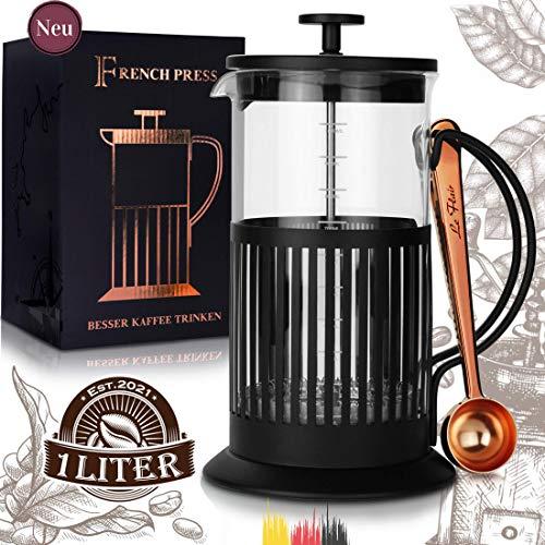 Le Flair® French Press schwarz für 1 Liter Kaffee - Tee Presskanne aus Glas mit Kaffeelöffel Kupfer - Kaffeebereiter inkl. Löffel Kaffee - Pressstempelkanne für Kaffeezubereitung - Kaffeeaufbereiter