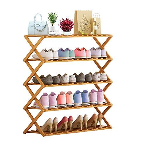 NAICKUC Shoe Rack Foldable Bamboo Shoe Storage Organizer, Free Installation Multifunctional Free...