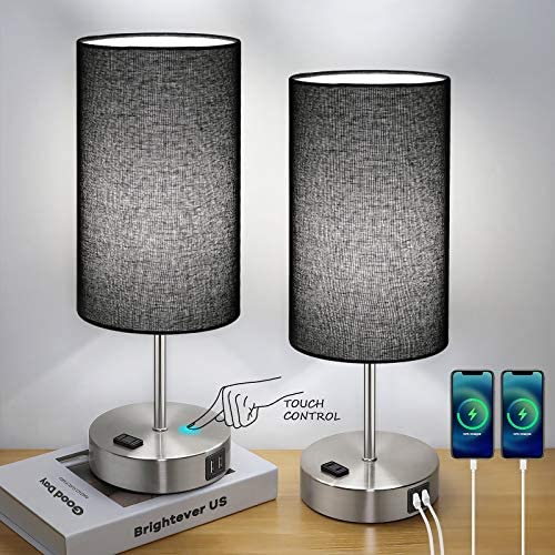 Black Touch Control Table Lamp Set of 2 with 2 USB Charging Ports AC Outlet 3 Way Dimmable Bedside product image