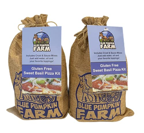 Gluten-Free Sweet Basil Pizza Sauce & Crust Kit - 2 Bags. Each Bag Makes An Extra Large (Cookie Sheet Sized) Pizza - Every Bag Includes Our Farm-Style Crust Mix And Our Foodie-Style Sauce! From Blue Pumpkin Farm