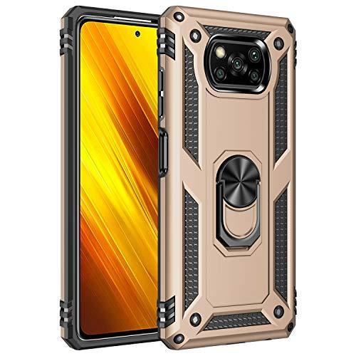 UILY Funda Compatible para Xiaomi Poco X3 Pro, Carcasa Apoyo Giratorio 360° con Función Coche, Nivel Militar Anti-Caída Cáscara. Oro