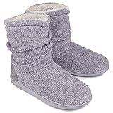 LongBay Women's Chenille Knit Bootie Slippers Cute Plush Fleece Memory Foam House Shoes (Large / 9-10 B(M), Gray)