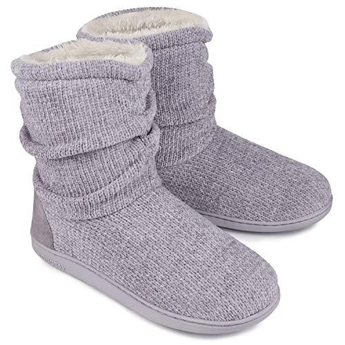 LongBay Women's Chenille Knit Bootie Slippers Cute Plush Fleece Memory Foam House Shoes (Medium / 7-8 B(M), Gray)