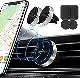 ivoler Support Telephone Voiture[Lot de 2], Porte téléphone magnetique Portable Grille Aeration Aimant Compatible pour Smartphone, 4 Plaques Métalliques –Argent