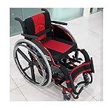 CANDYANA Leichtklapp Rollstuhl Transport Chair Aluminium verdickte Trolley für Outdoor-Reisen,Rot -
