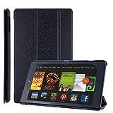 COOVY® Funda Ultra Delgada para Amazon Kindle Fire HD 8 (7. / 8. Generation, Model 2017/2018) Carcasa Protectora Inteligente con Sistemas de Soporte y Auto-sueño/Estela   Negro