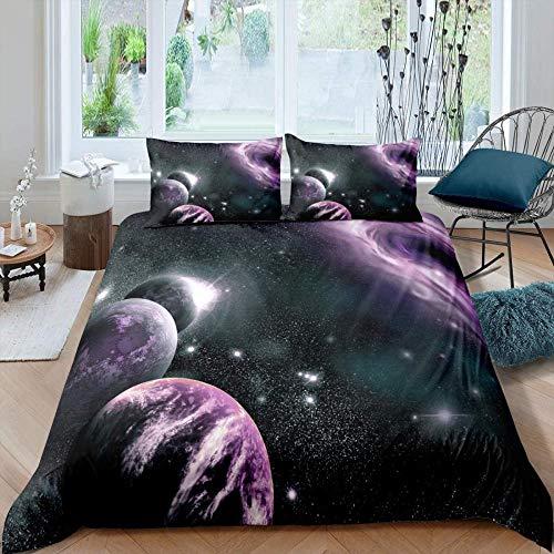XADITON Funda Nórdica 3D Los Hombres Niño Super Suave Comodo 260 Cm x 230 Cm Galaxia negra cielo estrellado planeta púrpura paisaje A Prueba de Polvo Poliéster Impresión de Ropa de Cama Cremallera ocu