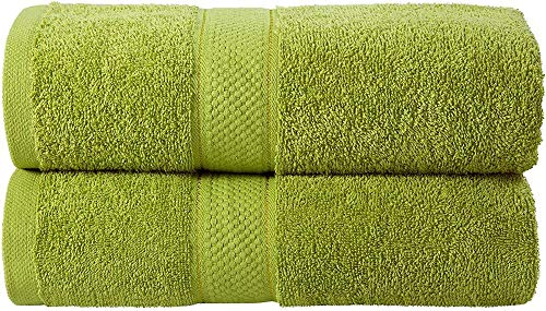 Juego de toallas de baño XQBHH, 2 piezas, juego de toallas de baño de 500 g/m², 100% algodón, absorbentes a mano, accesorios de baño verdes (oliva, 2 toallas de baño)