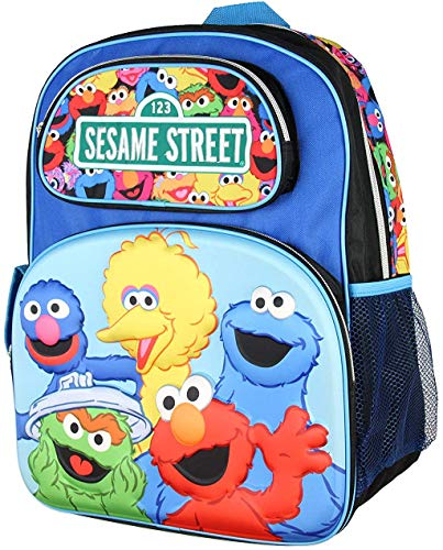 Sesame Street 3-D Character Elmo Big Bird Cookie Monster 16' Backpack W/Printed Straps
