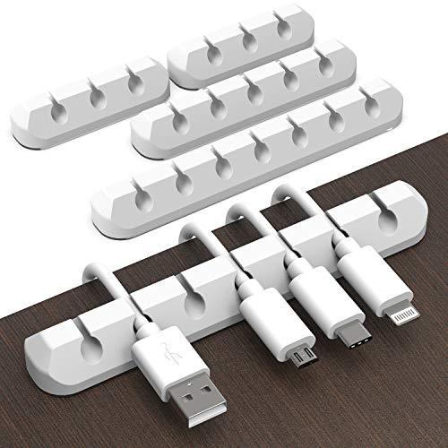 Juego de 4 soportes para cables autoadhesivos para cables de alimentación, cables USB, cargadores, cables de audio, cables de escritorio