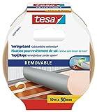tesa Ruban Adhésif pour Sols sans Traces - Ruban Adhésif Double Face pour Tapis, Sols en PVC et Moquettes - Adhésif Renforcé en Textile, 10 m x 50 mm