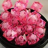 100p 8mm 10mm 12mm Espaciador suelto Coser en cuentas cuadradas de plástico acrílico para prendas DIY Pulseras de moda collar Joyas artesanales, No37 rosa neón, 100pcs 08mm