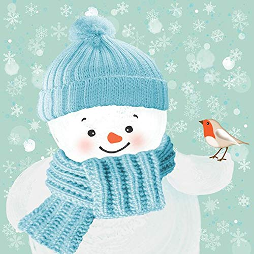 AvanCarte Servietten Weihnachten Winter Schneemann Schal 20 St 3-lagig 33x33cm