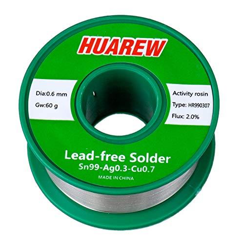 HUAREW HR990307 Sn 99-Ag 0,3-Cu 0,7 fil de soudure sans plomb avec colophane (0,6 mm, 60 g)