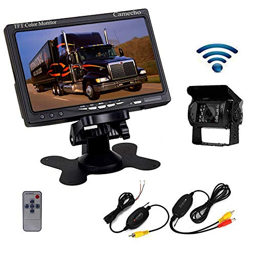Camecho RC 12V 24V Car Backup Camera Rear View Wireless IR Night Vision Backup Camera Waterproof Kit + 7' TFT LCD Monitor Parking Assistance System for...