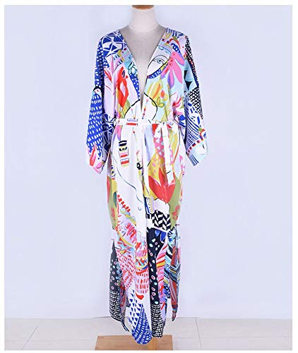 feiren Kimono de playa con estampado abstracto largo, cárdigan con abertura lateral, para vacaciones, bikini, con fajas, salidas sexys de verano (color: impresión, talla: talla única)