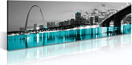"JiazuGo St. Louis Skyline City Canvas Wall Art Decor 14""x48"" Black and White MO, USA Cityscape Missouri Pictures Artwork Painting Poster for Bedroom Office Decoration Stretch Framed Ready to Hang"