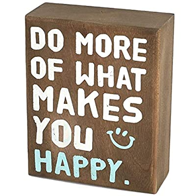 whoaon Rustic Wood Box Signs, Makes You Happy, 4 x 5 inches, Decorative Block Plaque, Table Top Display for Rustic Home Decor