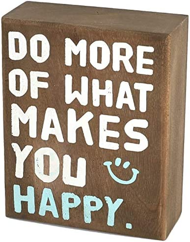 whoaon Rustic Wood Box Sign Do More of What Makes You Happy Real Solid Wood Box Plaque for Rustic product image