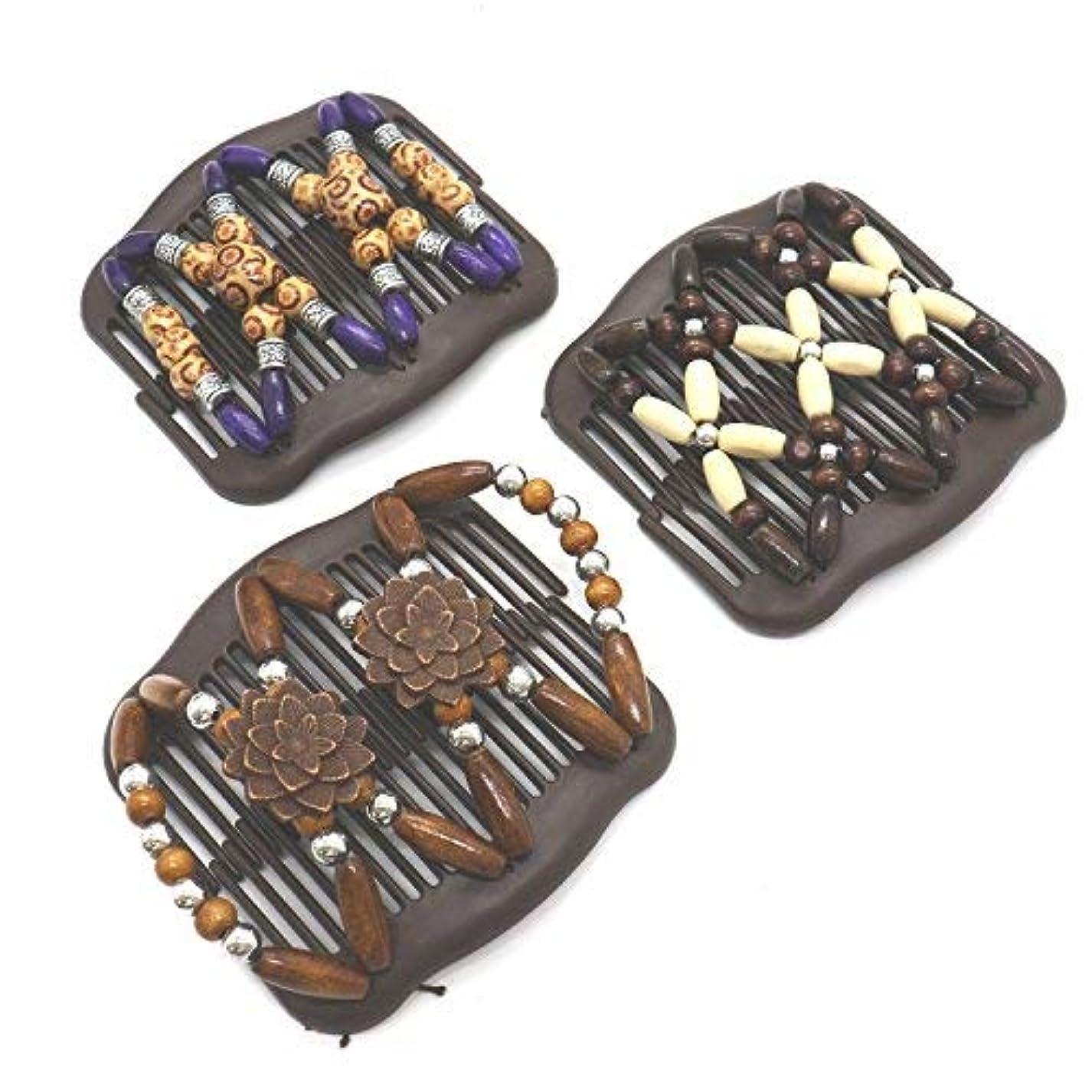 退院滅びる遠えBuorsa 3Pcs Magic Combs Wood Beaded Stretch Double Side Combs Clips Bun Maker Hair Accessories for Wowen Girls [並行輸入品]