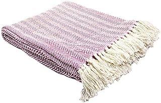 Homevibes Manta para Sofa con Flecos 100% Algodon Varios Modelos, Manta para Comedor, Manta con Flecos, Medidas 125x150cm (Blanca y Purpura)