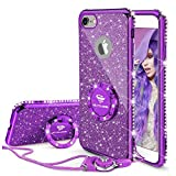 Cute iPhone 8 Case, Cute iPhone 7 Case, Glitter Luxury Bling Diamond Rhinestone Bumper with Ring Grip Kickstand Protective Thin Girly iPhone 8 Case/iPhone 7 Case for Women Girl - Purple