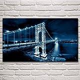 VVSUN Puente sobre el río Hudson de Manhattan, Hermoso Paisaje Nocturno, Pintura en Lienzo, Carteles artísticos de Pared, decoración del hogar para Sala de Estar Moderna, 58x100 cm (sin Marco)