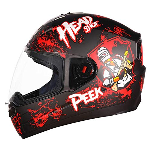 Steelbird SBA-1 Hitman Full Face Graphic Helmet (Medium 580 MM, Matt Black Red with Clear Visor)