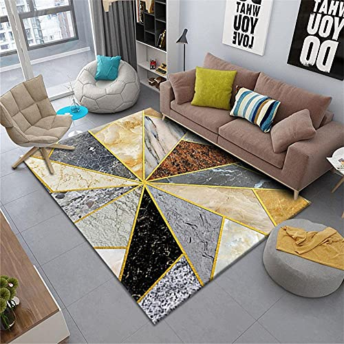 alfombra juvenil dormitorio alfombras salon modernas Sala de estar alfombra geométrica gris dorado contemporáneo resistencia al agua lavado de agua alfombra niña habitacion 160X230CM 5ft 3'X7ft 6.6'