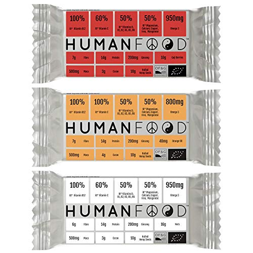 Human Food - Vegan Protein Bar - 3 Pack - Organic Plant Based Daily Nutrition Bars Filled with Vitamins - Mixed Flavours 3
