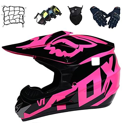 Casco Motocross Niños, Casco Moto Integral Adultos y Jóvenes, Casco Cross Unisex Set (Gafas/Guantes/Máscaras/Red Bungy) para Descenso MTB MX Quad Bike - con Diseño Fox, Rosa,XL