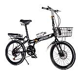 QWASZ Bicicleta Plegable de 20 Pulgadas y 7 Velocidades, Bicicleta de Amortiguación para Hombres y Mujeres Bicicleta Plegable Adulto Ligera para Ciclismo al Aire Libre