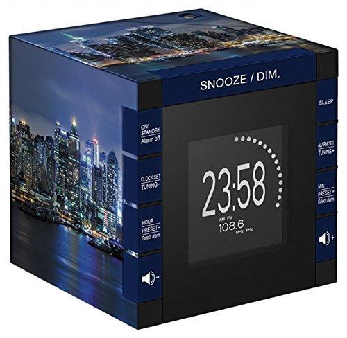 Bigben Interactive RR70PNYBYNIGHT Radio Sveglia con Display LCD e Proiezione Orario, Ny, Multicolore