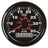 TONG Velocímetro GPS calibre de 0 a 35 MPH para barco yate buque 3-3/8 pulgadas (85 mm) 9-32 V pantalla digital