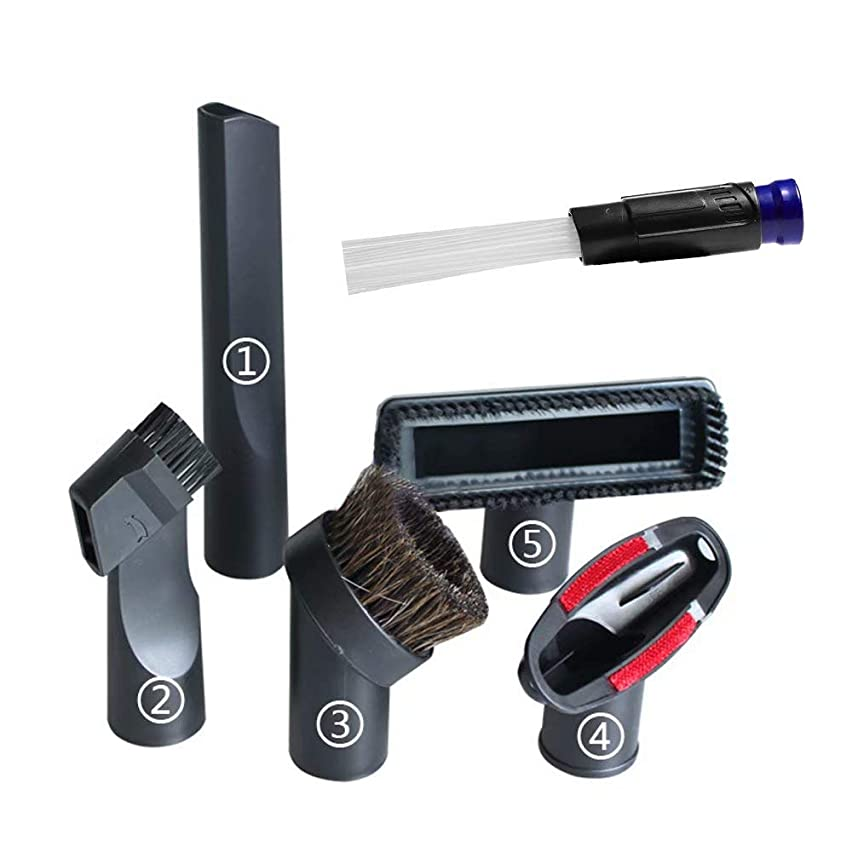 GIB cleaningtool 1 1/4 inch Vacuum Attachments 32mm Universal Replacement Horsehair Brush Kit for Most Brands Bisel,Dirt Devil,Hoover,Eureka,Royal,Rainbow Kenmore,Electrolux,Panasonic 7PCS